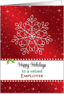 For Employee Christmas Greeting Card-Snowflake-Happy Holidays card