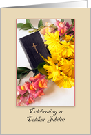 Golden Jubilee Invitation, Religious Life, Bible, Cross and Flowers card