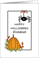 Grandson Halloween Greeting Card with Hanging Spider and Pumpkin card