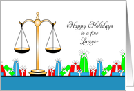 Christmas Greeting Card For Lawyer-Scales of Justice-Happy Holidays card