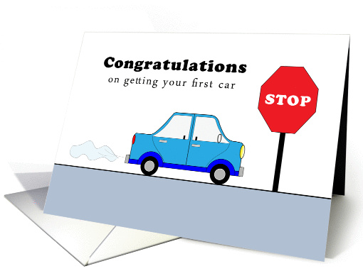 new car congratulations greeting card blue car red stop. Black Bedroom Furniture Sets. Home Design Ideas