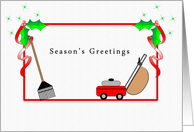 Grass Cutting Service Christmas Card, Season's Greetings, Rake card