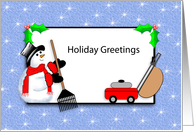 Lawn Care Christmas Card, Season's Greetings, Rake, Snowman card