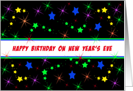 Happy Birthday on New Year's Eve Greeting Card-Star Look Background card