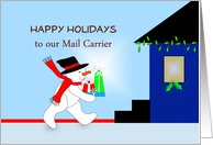 Mail Carrier, Mailman Happy Holidays, Snowman, Presents, House card