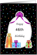 46th Birthday Paper Greeting Card, Retro Presents and Bows card