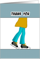 Boy Ice Skating Party Thank You Greeting Card with Boy Ice Skater card