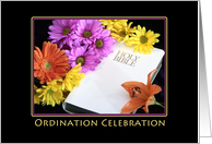 Ordination Party Invitations with Flowers and Bible card