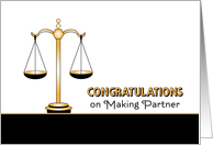 Congratulations on Making Law Firm Partner Card-Scales of Justice card
