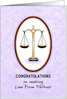Congratulations on Making Law Firm Partner, Scales of Justice card
