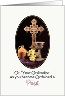 For Priest Ordination Greeting Card-Cross, Jug, Chalice & Grapes card