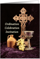 Ordination Party Invitation Greeting Card with Cross-Jug-Chalice-Grape card