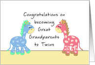 Congratulations Great Grandparents-Twins card