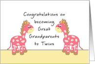 Congratulations Great Grandparents-Twin Girls card