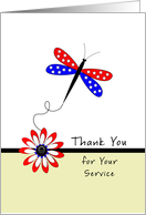 Thank You For Your Service Greeting Card with Patriotic Dragonfly card