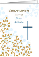 Silver Jubilee Greeting Card-25th Anniversary Religious Life-Cross card