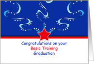 Basic Training Graduation Greeting Card with Stars and Swirls card