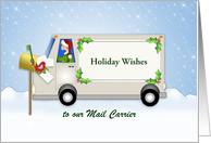 For Mail Carrier-Mail Man Christmas Card-Mail Truck-Mail Box-Custom card