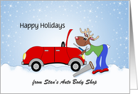 From Auto Mechanic Christmas Card-Reindeer-Red Car-Customizable Text card