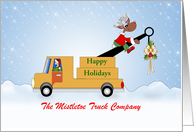Christmas Card From Tow Truck Company, Reindeer Sitting-Customizable card