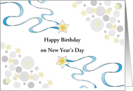 Birthday on New Years Day-Stars-Circle Design-Customizable Text card