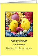 For Brother and Sister-In-Law Happy Easter Greeting Card-Chicks-Eggs card