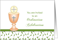 Ordination Invitation Celebration Party Greeting Card-Chalice-Wafer card