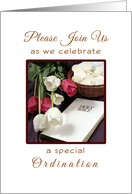 Ordination Celebration Party Invitation-Bible-Tulips-Communion Wafers card