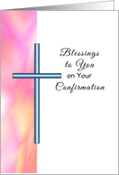 Confirmation Greeting Card for Girls with Pink Design and Cross card