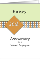 Employee 20th Anniversary Greeting Card-Geometric Design Blue-Orange card