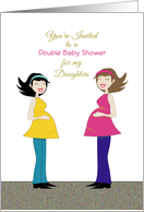 Double Baby Shower Invitation for Daughters Greeting Card-Retro Girls card