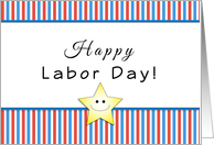 Labor Day Greeting Card with Smiley Face Star-Red Stripes card