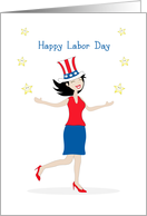 Happy Labor Day Card with Retro Girl-Patriotic Hat-Stars card