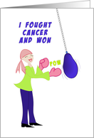 Fought Cancer Greeting Card-Retro Girl-Punching Bag-Boxing Gloves card