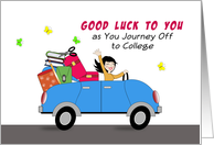 Off to College Greeting Card-Car-Girl Driving Car with Luggage & Books card
