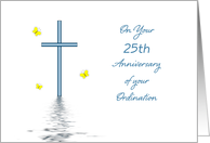 25th Anniversary Ordination Greeting Card-Silver Jubilee-Cross card
