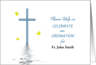 Ordination Invitation Greeting Card-Cross-Butterfly-Customizable Text card