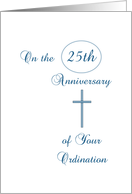 25th Anniversary Ordination Greeting Card -Silver Cross-Silver Jubilee card