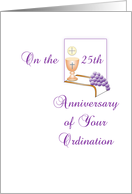 25th Anniversary Ordination Greeting Card-Grape-Silver Jubilee-Chalice card