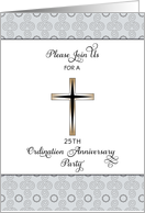 25th Ordination Anniversary Party Invitation-Silver Jubilee-Cross Card