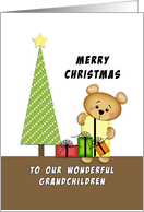 For Grandchildren Merry Christmas Greeting Card-Bear-Tree-Presents card