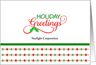For Customers Business Christmas Greeting Card-Green-Red-Stars-Custom card