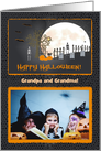 Spooky Graveyard, To Grandparents, Photo Card with Custom Text card