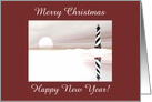 Lighthouse in the Winter, Merry Christmas, Custom Text card