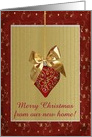 Lovely Red Heart Ornament with Jewels, Gold Bow, Merry Christmas card