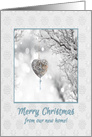 Graceful Heart Ornament on Frozen Tree Branch, Merry Christmas card