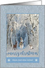 Snowman in the Forest with Deer, Beavers, Squirrel, Merry Christmas card