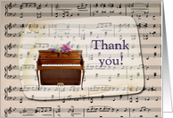 Thank You Church Musician, Piano with Flowers on Music Sheet card