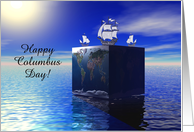 Columbus Day, Three ship on square world, Custom Text card