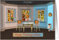 Turkeys at Thanksgivukkah, Star of David, & Menorah, Custom Text card
